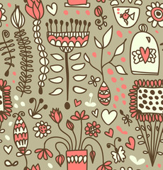 Coffee doodle pattern. Tea party fantasy background