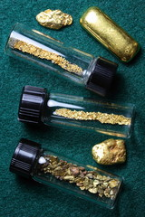 Vials of Gold Dust and Placer Gold Nuggets