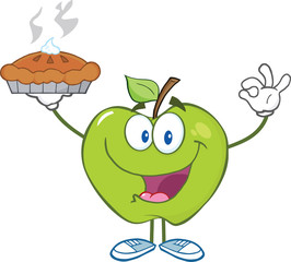 Happy Green Apple Character Holding Up A Pie