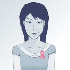 Woman wearing pink ribbon to help promote breast
