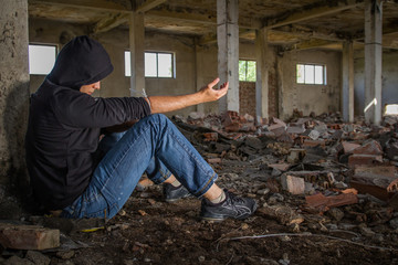 Drug Addict getting High in an Abandoned Building Dramatic