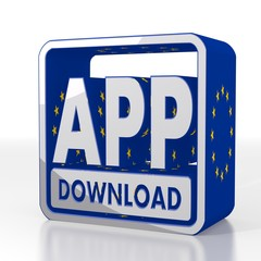app download symbol  with eu flag pattern