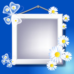 Frame, daisy and butterfly