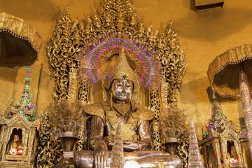 """buddha statue,made from gold in """"Kaba Aye"""" pagoda in Yangon, Bur"""