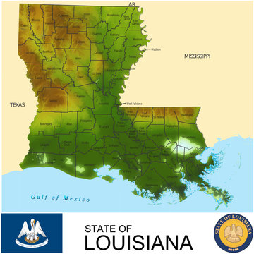 Louisiana USA counties name location map background
