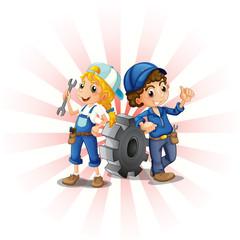 A male and female mechanic