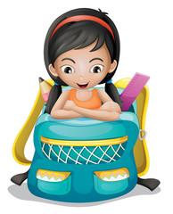 A girl inside a school bag
