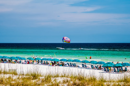 public beach in florida with many people