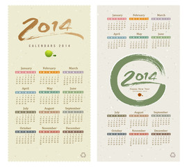 Calendar 2014 text paint brush collections