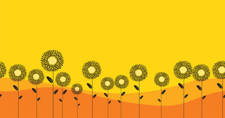 Abstract sunflowers seamless horizontal pattern