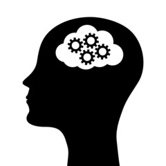 silhouette of a man's head with a picture of the mechanism