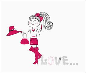 cute love girl in a purple dress. vector