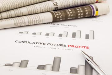 graph and chart, cumulative future profits