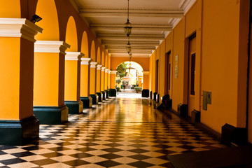 Colonnades in Plaza Mayor (formerly, Plaza de Armas) of Lima, Pe