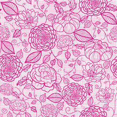 Vector pink lace flowers elegant seamless pattern background