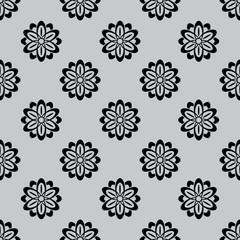 Seamless monochrome flower buds pattern.