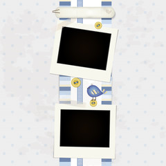 Blue Scrapbook Background - Place your Photo and Text