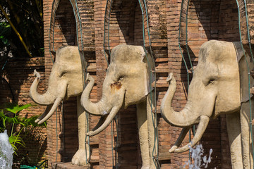 Elephant Statue in Chiangmai Zoo , Thailand
