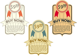 Vector template of vintage style price tags