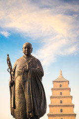 Canvas Prints Xian monk xuanzang statue with big wild goose pagoda