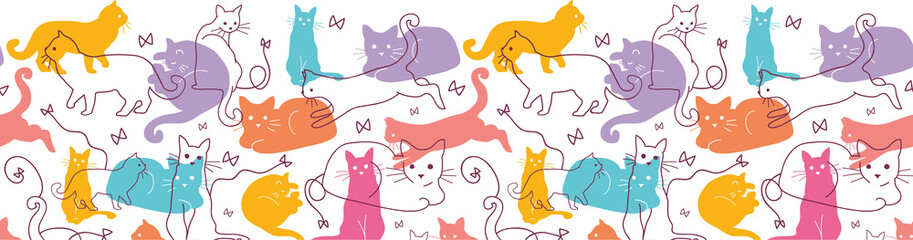 Vector Colorful Cats Horizontal Seamless Pattern Background
