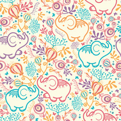 Vector Elephants With Flowers Seamless Pattern Background. Cut,