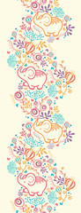 Vector Elephants With Flowers Vertical Seamless Pattern