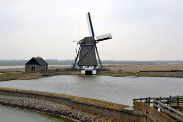 Mill along the Lancaster Deen on Texel, The Netherlands.