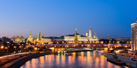 Stunning night view of Moscow Kremlin in summer, Russia