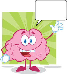 Happy Brain Character Waving For Greeting With Speech Bubble