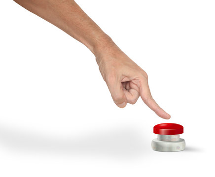 A man pushing a big red start/stop/alarm button with finger