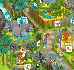 Cartoon zoo - amusement park - illustration