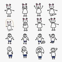 set of child avatars