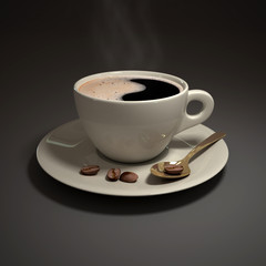 coffee cup with spoon , 3d