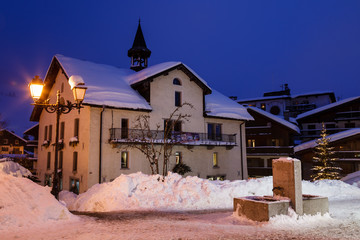 Wall Mural - Illuminated Street of Megeve on Christmas Eve, French Alps, Fran