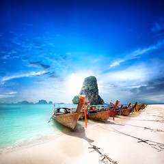 Foto auf Leinwand Tropical strand Tropical island travel landscape. Thailand beach and boats