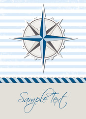 Nautical background with compass, marine card