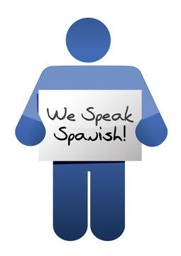 icon holding a we speak spanish sign.
