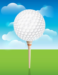 Golf Ball on Tee Background