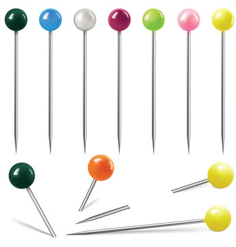 Colorful pins on white background. Vector illustration