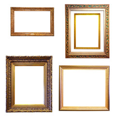 Set of few gold frames. Isolated over white background