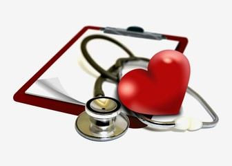 Heart with clipboard and stethoscope
