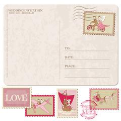 Wedding Invitation - Vintage Postcard with Postage Stamps