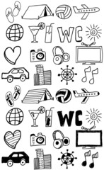 Travel icons set / doodles hand drawn