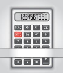 calculator in a paper bag