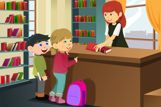 Kids borrowing books in the library