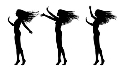 full length silhouettes of beautiful naked woman different postu