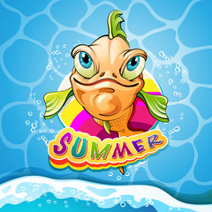 Cartoon fish smiling with summer banner