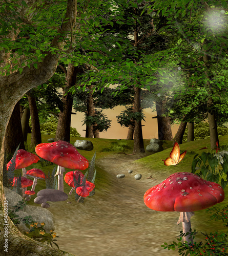 Fototapete Enchanted nature series - Pathway in the magic forest