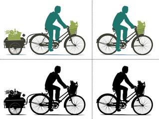 Silhouette d'homme qui fait ses courses à vélo